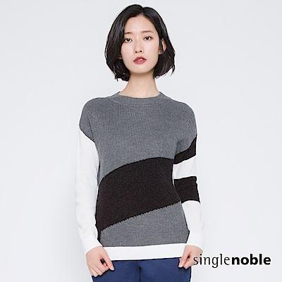 獨身貴族 解剖時尚斜拼色塊羊毛針織衫(2色)