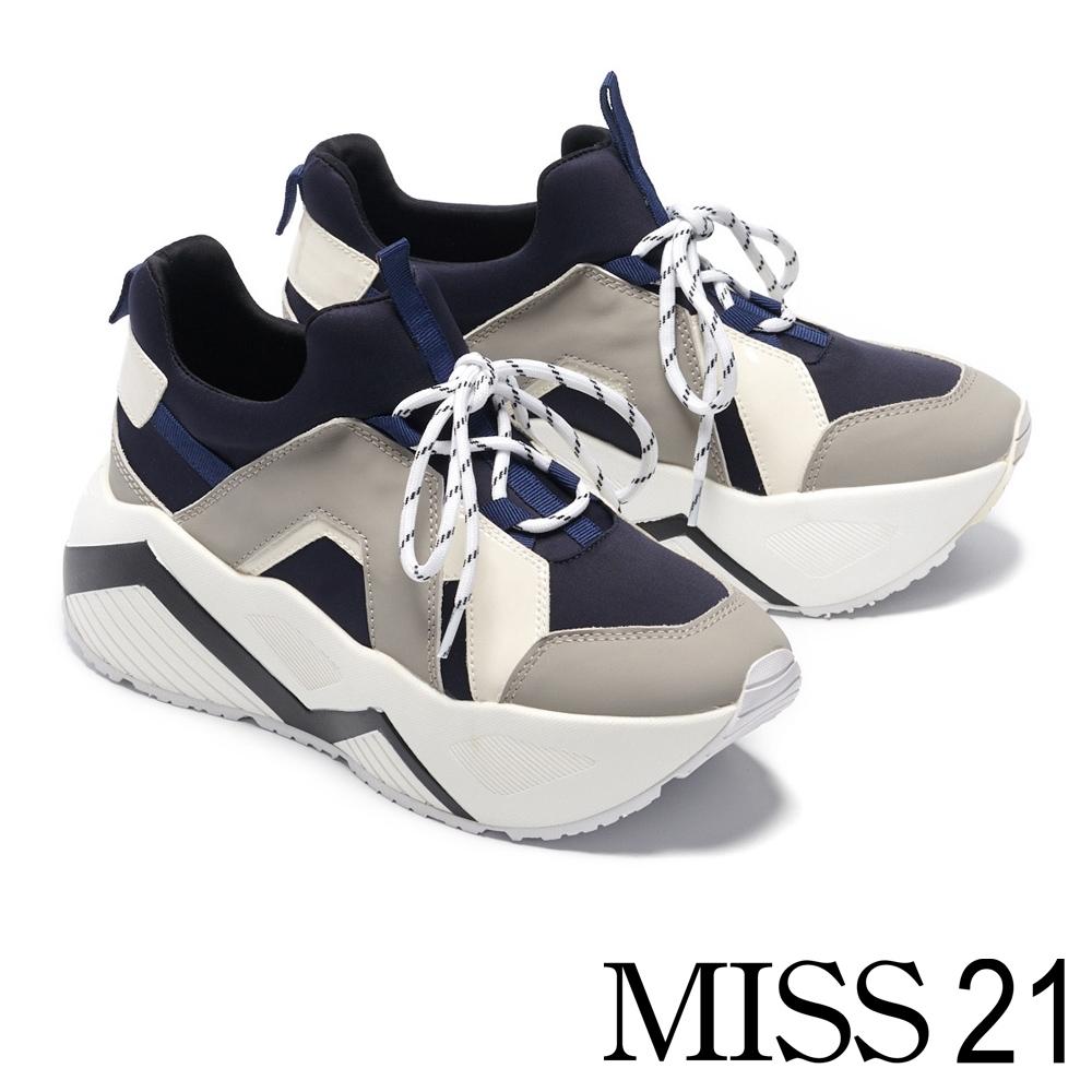 休閒鞋 MISS 21 復古搶眼拼接超厚底休閒鞋-藍
