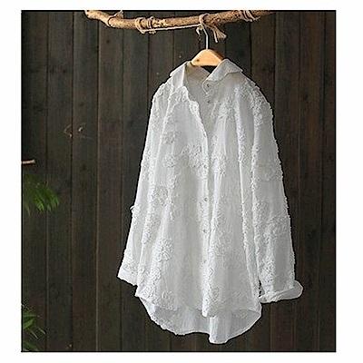 寬鬆扎花刺繡純棉襯開衫上衣-設計所在