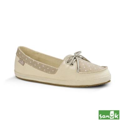 SANUK 女款US7 點點拼接綁帶娃娃鞋(米白色)