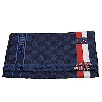 LV M70338經典MESSAGER DAMIER系列紅白條紋披巾/圍巾(海軍藍)