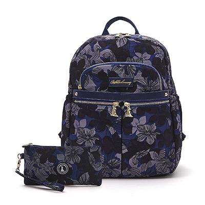 B.S.D.S冰山袋鼠-楓糖瑪芝x輕旅多口袋後背包+零錢包2件組-花繪風