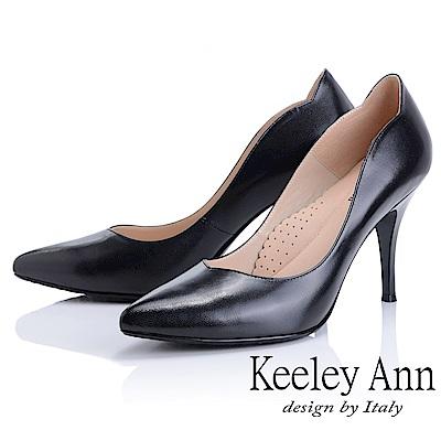Keeley Ann 簡約美感~U形鞋緣素色全真皮尖頭高跟鞋(黑色)