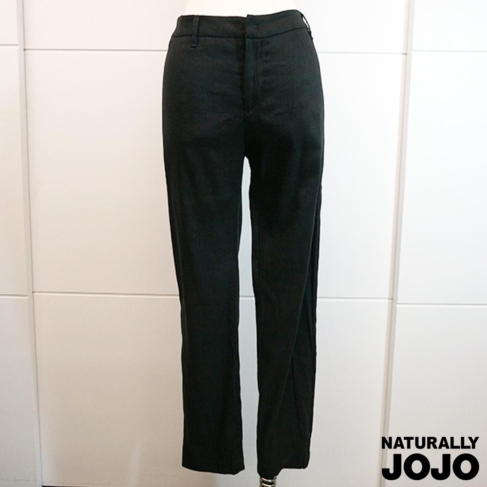 【NATURALLY JOJO】復古麻料老爺褲(黑)
