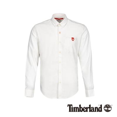 Timberland 男款白色休閒牛津修身長袖襯衫|A1WP8