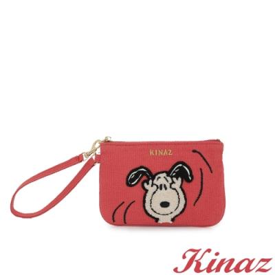 KINAZ SNOOPY聯名款 毛絨絨史努比手腕帶萬用零錢包-閨蜜莓果粉-Friends系列-快
