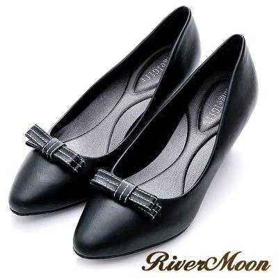 River&Moon通勤必備蝴蝶結記憶鞋墊尖頭跟鞋-黑