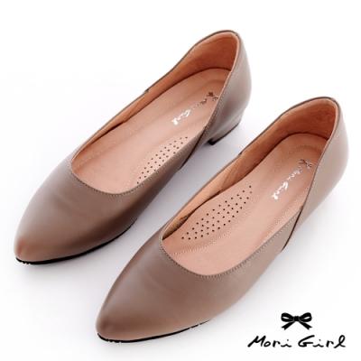 Mori girl MIT通勤必備全真皮低跟鞋 灰藕