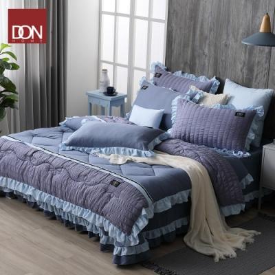 DON寧靜藍 雲朵絨韓式床罩六件組