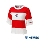 K-SWISS Col. Block Loose Tee印花短袖T恤-女-紅