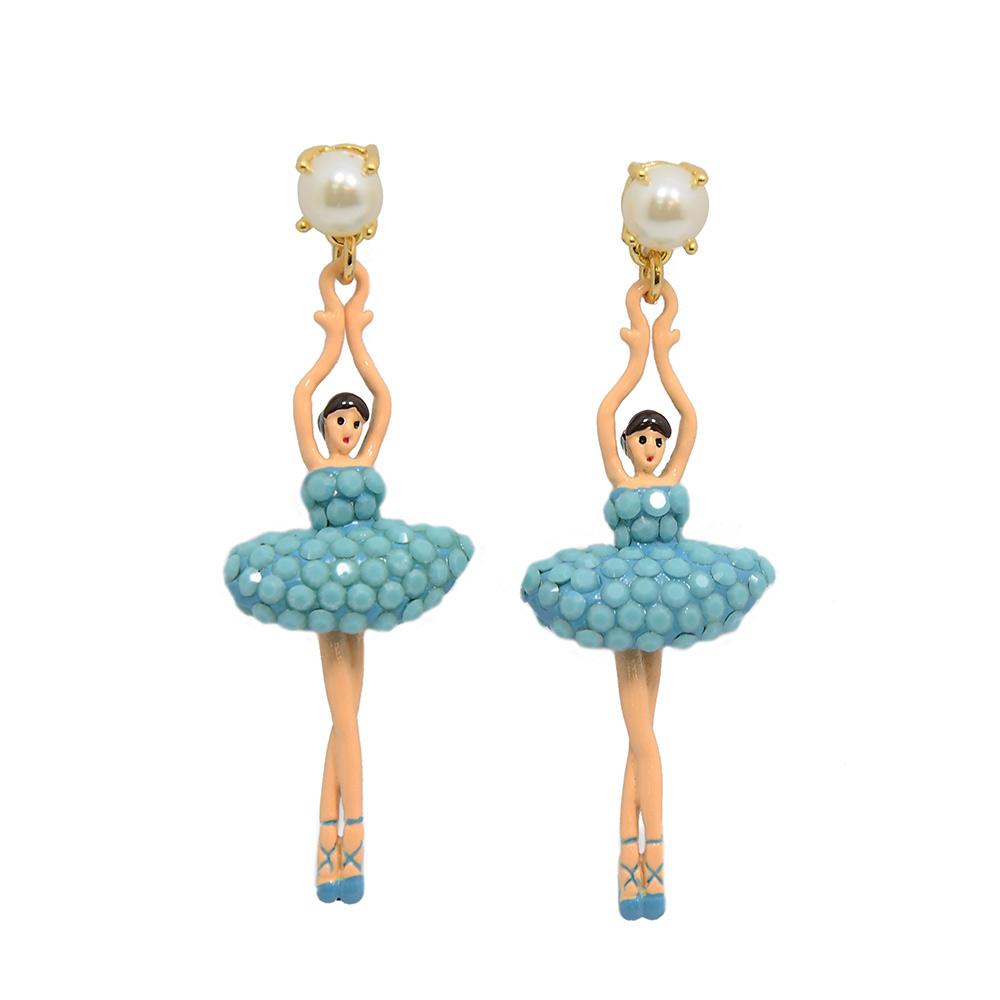 Les Nereides 優雅芭蕾舞女孩系列 白色珍珠綠松石藍水鑽舞者耳針式耳環 @ Y!購物