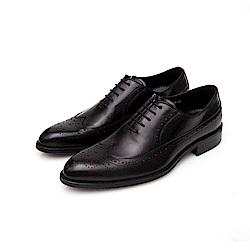 ALLEGREZZA-真皮男鞋-復古品味-藝紋雕花牛津鞋  黑色