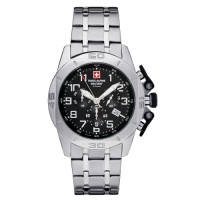 瑞士阿爾卑斯軍錶S.A.M 龍捲風系列-不鏽鋼鍊帶/三眼計時/黑色錶盤/45mm