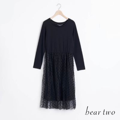 bear two- 剪接蕾絲下擺洋裝 - 黑