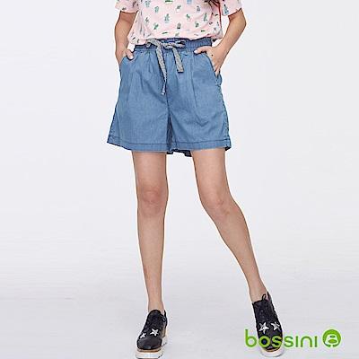 bossini女裝-時尚寬版短褲01藍