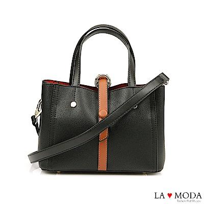 La Moda 職場女孩必備~經典撞色多背法可換背帶肩背斜背托特包(黑)