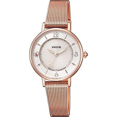 WICCA閃耀愛心米蘭帶手錶(KP3-465-15)-白X玫瑰金/28mm