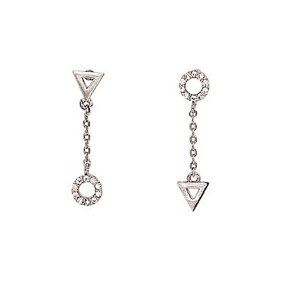 LOVER S TEMPO加拿大品牌 圓圈三角造型鑲嵌鋯石 銀色垂墜耳環