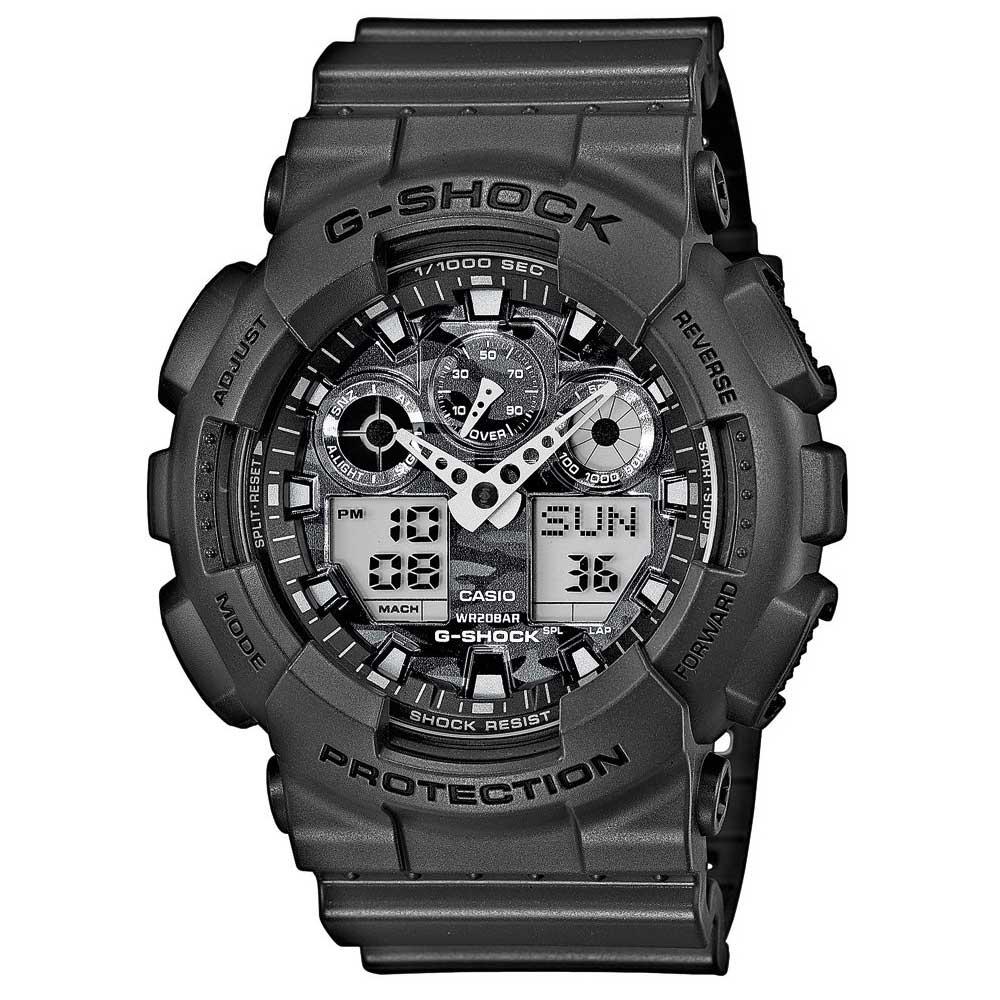 G-SHOCK 超人氣新迷彩軍事戰魂雙顯錶(GA-100CF-8A)-灰色調/52mm