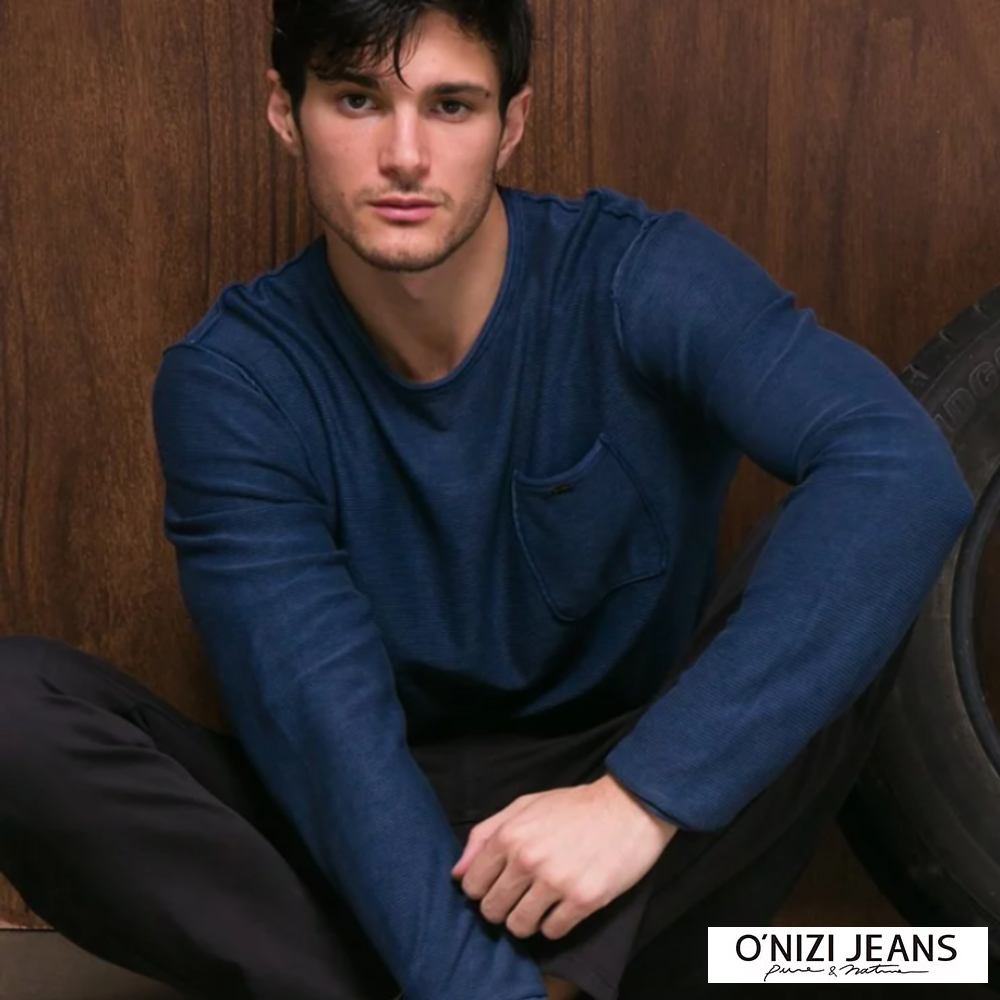 ONIZI 舒適仿舊口袋針織衫-男-深藍