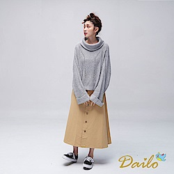 Dailo INLook落肩寬版高領反摺針織毛衣(灰)