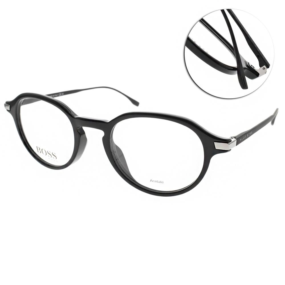 HUGO BOSS 光學眼鏡  不鏽鋼LOGO圓膠框/黑 #HB0988 807