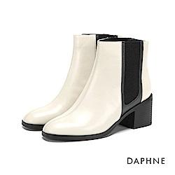 達芙妮DAPHNE 短靴-牛皮拼接撞色異材質粗跟短靴-米白