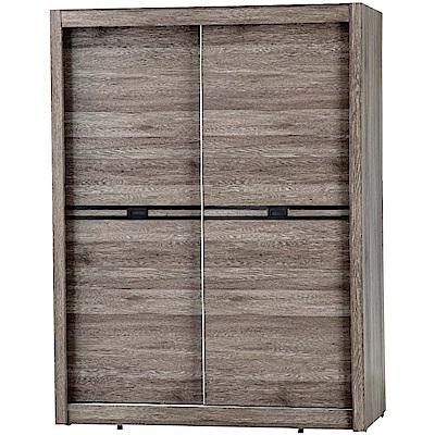 綠活居 安琪5尺推門衣櫃(吊衣桿+單抽屜+內部收納層格)-152x59.5x203cm免組