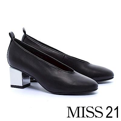 跟鞋 MISS 21 獨特復古輪廓全真皮純色高跟鞋-黑