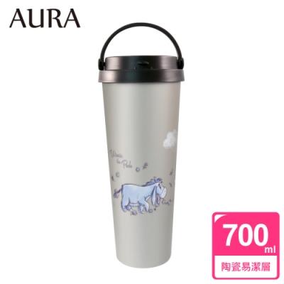 AURA艾樂 維尼系列假日漫步陶瓷易潔層提手杯700ML(快)