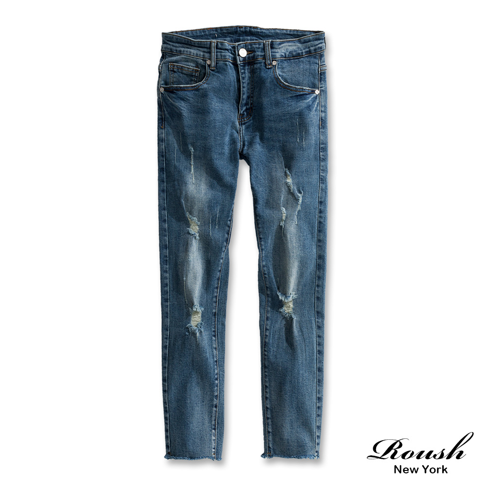 Roush 破壞刷白窄管彈力牛仔褲
