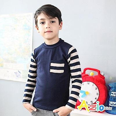 Azio Kids 上衣 條紋拼接袖單口袋圓領長袖T恤(藍)