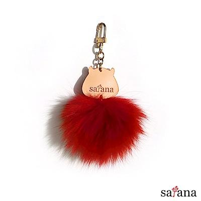 satana -Leather 惡魔毛球吊飾 - 石榴紅