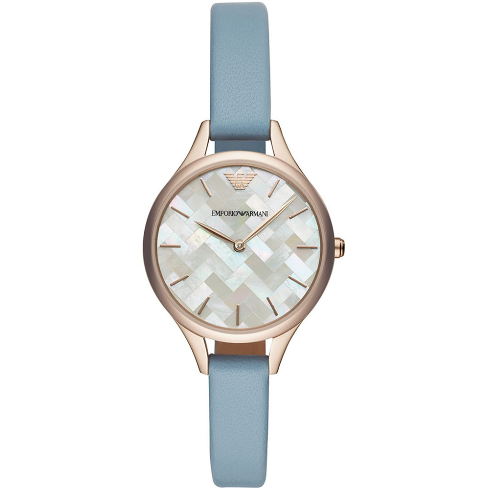 Emporio Armani  珍珠貝編織格紋時尚錶(AR11109)藍/32mm