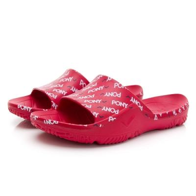 【PONY】輕量運動拖鞋滿版LOGO印花 涼鞋 男女鞋 粉紅