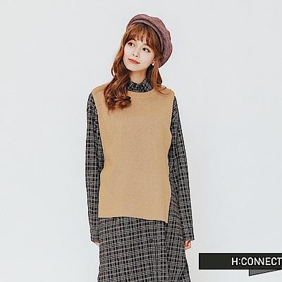 H:CONNECT 韓國品牌 女裝-兩件式格紋襯衫洋裝-卡其