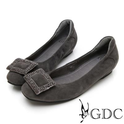 GDC-真皮高貴水鑽舒適方扣平底包鞋-灰色