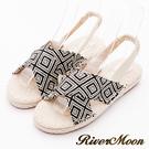 River&Moon涼鞋-交叉幾何麻編織涼鞋-黑系