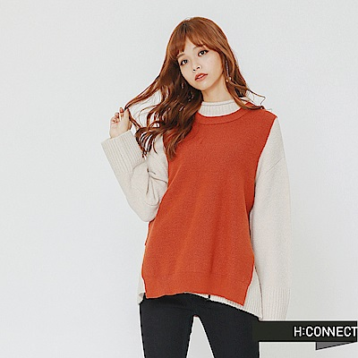 H:CONNECT 韓國品牌 女裝-側開岔圓領針織背心-橘