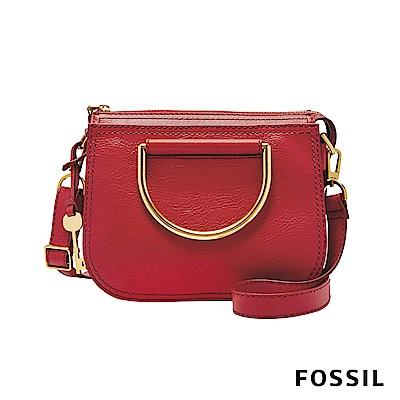 FOSSIL RYDER 真皮小圓弧手提/側背兩用包(硬質把手)-罌粟紅