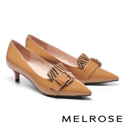 低跟鞋 MELROSE 知性時髦金屬飾釦異材質拼接全真皮尖頭低跟鞋-杏