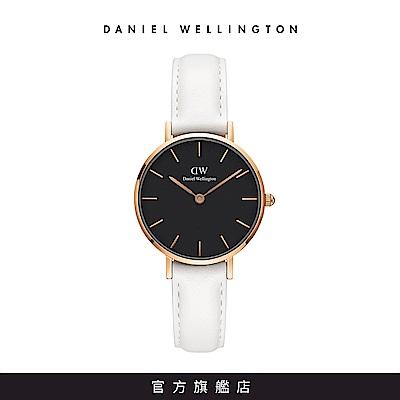 DW 手錶 官方旗艦店 28mm玫瑰金框 Classic Petite 純真白真皮皮革