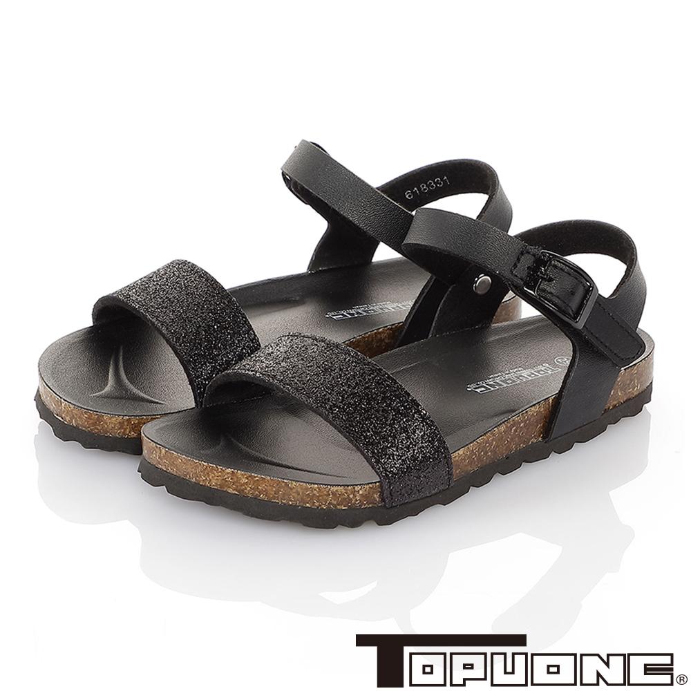 TOPUONE親子鞋童鞋 輕量減壓腳床型涼鞋-黑