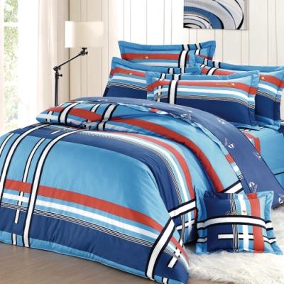 Arnold Palmer雨傘牌 爵士格調-台製40紗精梳棉床包枕套雙人加大三件組