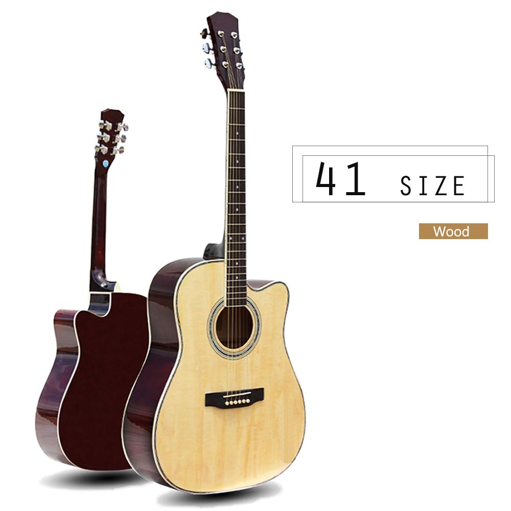 41 吋民謠木吉他,可調整弦距,初學好上手,全椴木,三色全配,琴袋+背帶+配件