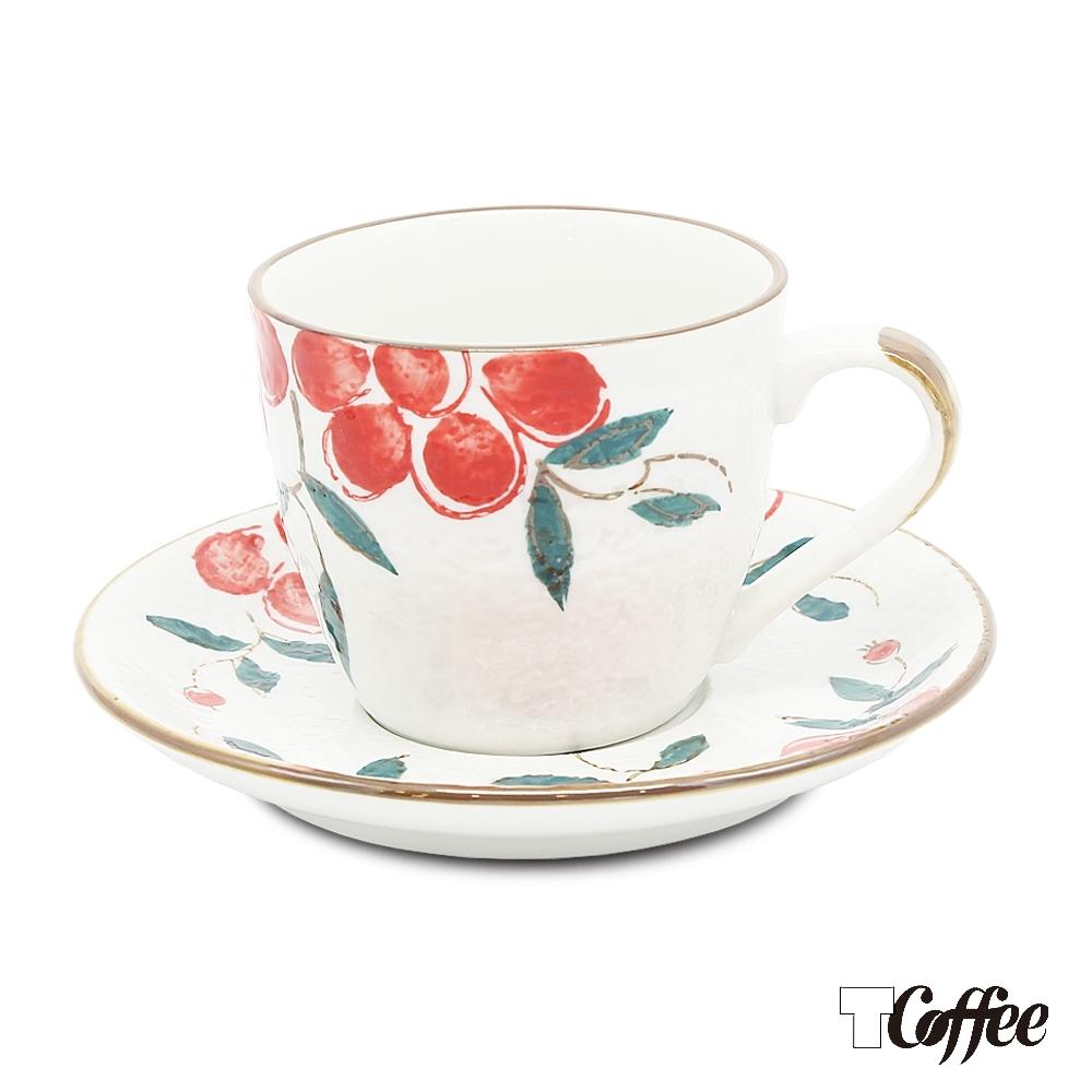 TCoffee MILA-日式手繪咖啡杯盤組 紅果花150ml