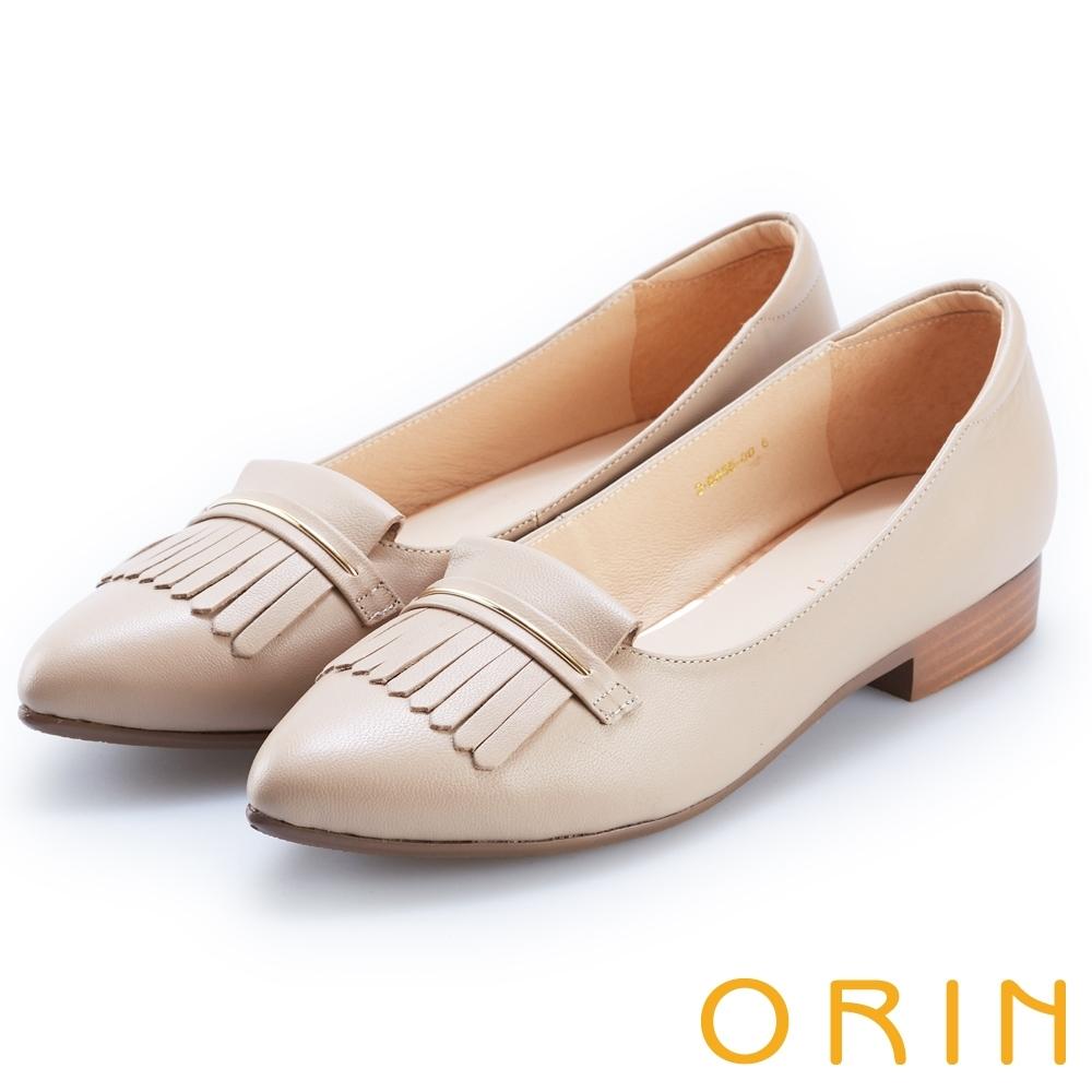 ORIN 典雅輕柔 瀏海造型牛皮微尖低跟鞋-裸色