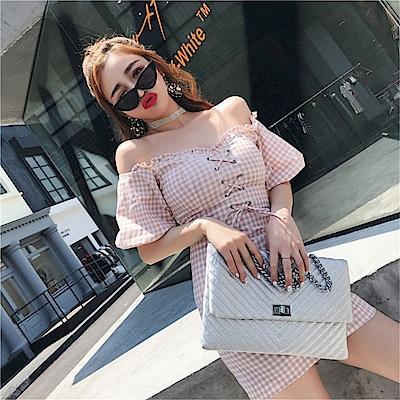 DABI 韓國風格子一字領荷葉邊泡泡袖系帶短袖洋裝