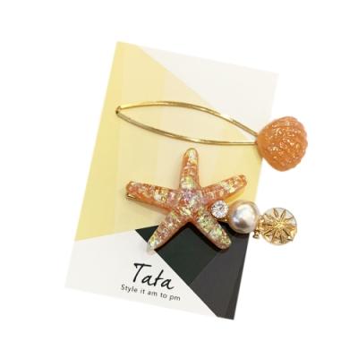 海洋風珊瑚貝殼髮夾(2入) TATA