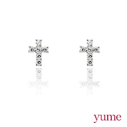 YUME - K金小十字晶鑽耳環